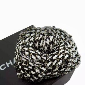 🍒Auth CHANEL Camellia TweedFabric Crystal  Brooch